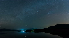 Time lapse-shooting star and milky way over reservoir with mountain night sky. Stock Footage