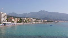 Cap Martin and Roquebrune, French riviera coast with blue sea Stock Footage