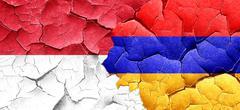 monaco flag with Armenia flag on a grunge cracked wall - stock illustration