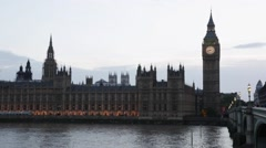 Big Ben and Palace of Westminster at dusk in London, natural light and colors - stock footage