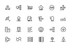 Network and Sharing Vector Outline Icons Set - stock illustration