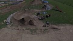 4k aerial mtb smooth jump line - stock footage