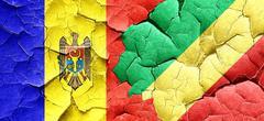 Moldova flag with congo flag on a grunge cracked wall Stock Illustration