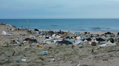Waste like plastic bottles and bags or other garbage on polluted beach in Asia Stock Footage