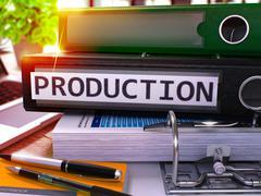 Black Office Folder with Inscription Production - stock illustration