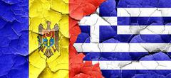 Moldova flag with Greece flag on a grunge cracked wall - stock illustration