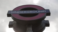 London Underground Sign SLOW ZOOM OUT - 1080HD Stock Footage