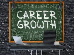 Hand Drawn Career Growth on Office Chalkboard - stock illustration
