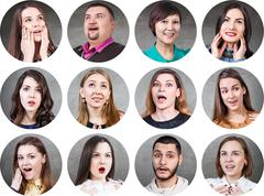 People with different facial expressions - stock photo