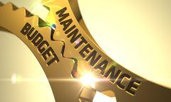 Maintenance Budget Concept. Golden Cogwheels - stock illustration