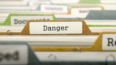 File Folder Labeled as Danger Stock Illustration