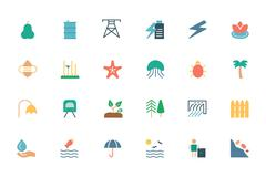 Nature and Ecology Colored Icons Pack - stock illustration