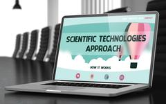 Scientific Technologies Approach on Laptop in Meeting Room Stock Illustration