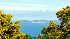Portaneevy view point to Rathlin Island, Northern Ireland, Stock Footage