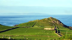 Torr head and misty view to Scotland, Northern Ireland Stock Footage