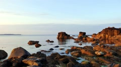 Ballycastle, evening light at the beach and bridge, Northern Ireland Stock Footage