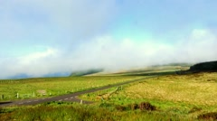 Mist suddenly coming quickly up the hill, Northern Ireland - stock footage