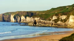 White Rocks in warm evening light, Northern Ireland Stock Footage
