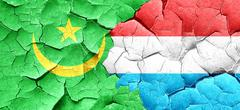 Mauritania flag with Luxembourg flag on a grunge cracked wall - stock illustration
