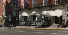 Establishing Shot of Bull and Finch Pub in Boston Stock Footage