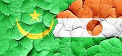 Mauritania flag with Niger flag on a grunge cracked wall - stock illustration