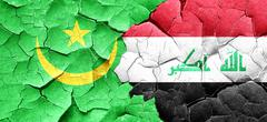 Mauritania flag with Iraq flag on a grunge cracked wall Stock Illustration