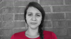 Tearful And Distraught Teen Girl Stock Footage