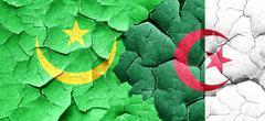 Mauritania flag with Algeria flag on a grunge cracked wall Stock Illustration