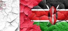 Malta flag with Kenya flag on a grunge cracked wall Stock Illustration