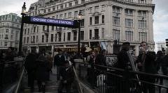 Oxford Circus London Underground Entrance. London, England - 1080HD - stock footage