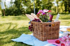 Picnic basket with drinks, food and flowers on the grass Stock Photos