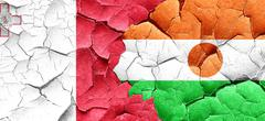 Malta flag with Niger flag on a grunge cracked wall Stock Illustration