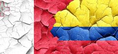 Malta flag with Colombia flag on a grunge cracked wall - stock illustration