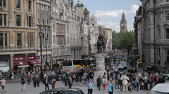 Trafalgar Square Roundabout Looking Over Big Ben/Elizabeth Tower. London - stock footage