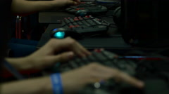 Teenagers Battling In Gaming Tournament, Hands Detail On Keyboard, ComicCon Stock Footage