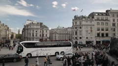 Trafalgar Square Roundabout Looking Over Big Ben/Elizabeth Tower. London Stock Footage