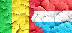 Mali flag with Luxembourg flag on a grunge cracked wall - stock illustration