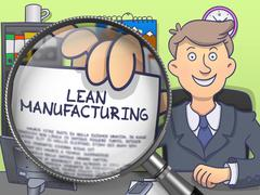 Lean Manufacturing through Magnifier. Doodle Design - stock illustration