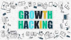 Growth Hacking in Multicolor. Doodle Design - stock illustration