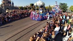 Many people at show in Disneyland in Paris, France Stock Footage