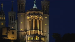 Lyon, Notre-Dame de Fourviere Basilica with Saone river in dusk,ULTRA HD 4k Stock Footage