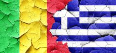 Mali flag with Greece flag on a grunge cracked wall Stock Illustration