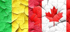 Mali flag with Canada flag on a grunge cracked wall Stock Illustration