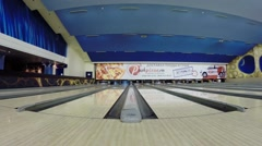 Lines during bloggers meeting in Asteroid bowling club Stock Footage