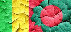 Mali flag with Bangladesh flag on a grunge cracked wall Stock Illustration