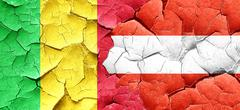 Mali flag with Austria flag on a grunge cracked wall - stock illustration