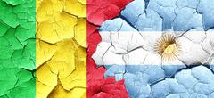 Mali flag with Argentine flag on a grunge cracked wall - stock illustration