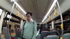 Man goes in bus at exhibition ExpoCityTrans in Moscow Stock Footage