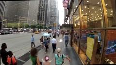Many people walk down street in Manhattan borough Stock Footage