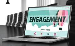 Laptop Screen with Engagement Concept - stock illustration